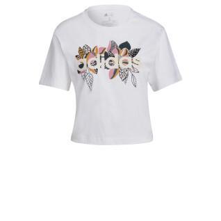 Maglietta da donna adidas X Farrio Print Boyfriend Cropped Coton Logo